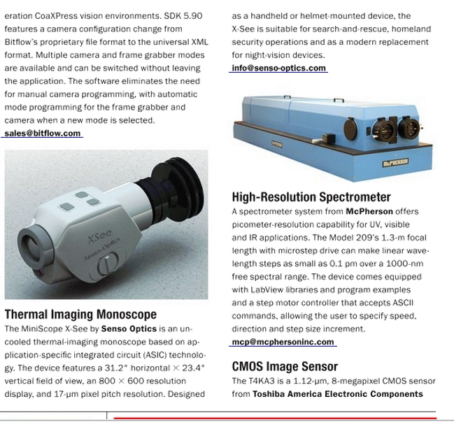 X- See at the Nov printed edition of Photonics Spectra